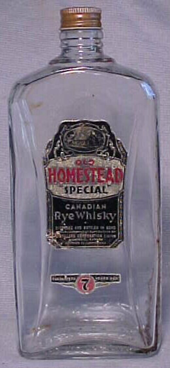 1933 Old Homestead Special Canadian Rye Whisky Consolidated Distilleries Limited Montreal, Canada , Original Labeled Whiskey Bottle