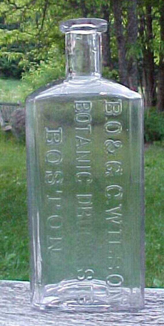c1880s B. O. & G. C. Wilson Botanic Druggists Boston, Mass. , Clear Blown Glass Cork Top Medicine bottle