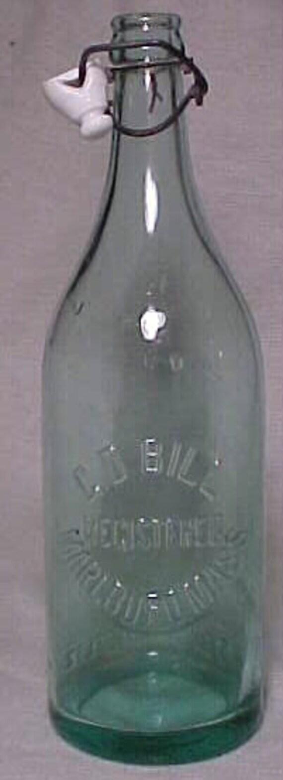 1922 G. D. Bill Marlboro, Mass., Aqua Crown Top 28 Ounce Soda Bottle