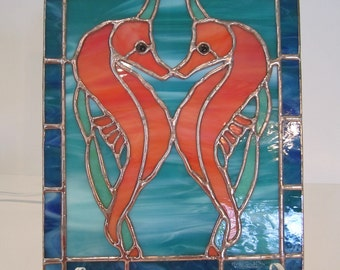Stained Glass Seahorse Mini Panel
