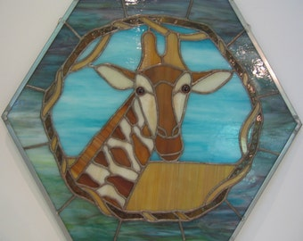 Giraffe Hexagonal Stained Glass Panel