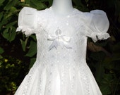 Handmade Dress - White Cotton  with White Satin Lining