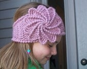 Crochet Spiral Flower Headband-Girls Ear Warmer-Teen Head Wrap-Womens Headband-Woman Ear Warmer-Button Closure