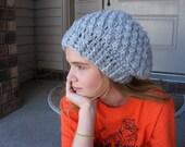 Crochet Celebrity Style Slouch Hat-Women Winter Fashion-Teen Slouchy Hat-Womans Fall Apparel-Silver Chunky Slouch Hat