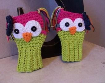 Crochet Owl Fingerless/Wrist Warmer Gloves-Kids Gloves-Teen Texting Gloves-Adult Wrist Warmers-Owl Fingerless Gloves
