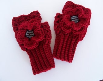 Crochet Fingerless/Wrist Warmer Gloves-Girls Flower Gloves-Teen Texting Gloves-Womens Fingerless Gloves-Woman Winter Fashion