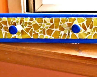 Take 20% Off Vintage Royal Blue YELLOW Glass MOSAIC & Wood Coat or Cup Rack