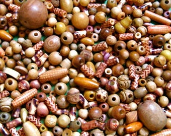 50% OFF Blond, NATURAL Solid & Patterned Stained Wooden Beads