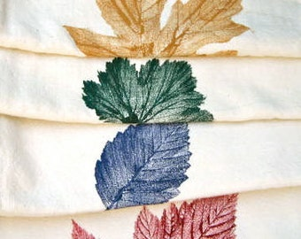 50% OFF FOUR Color Stamp Autumn Leaf Stamp Napkins Made in WA State