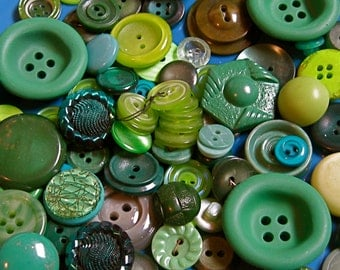 Take 20% Off Vintage Shades of GREEN 100 BUTTON Collection