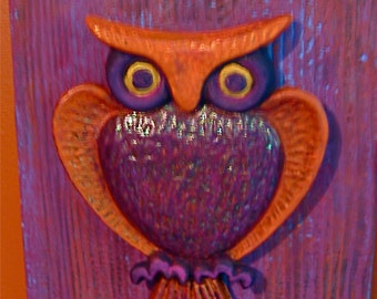 TAKE 20% OFF Retro Metal on Wood Hand Painted OWL