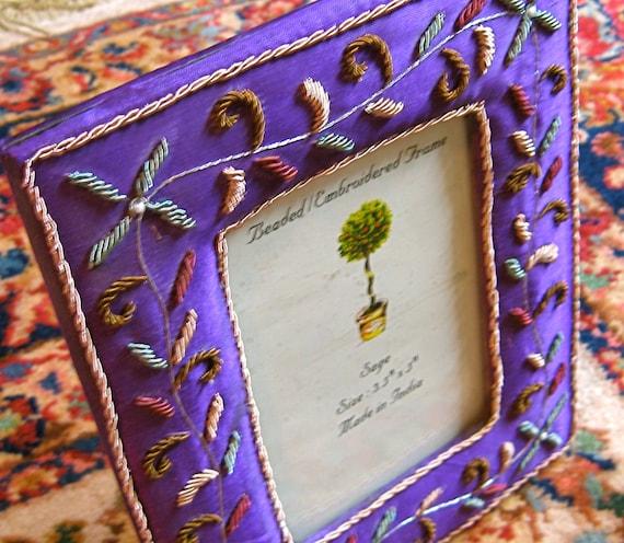 50% off Sale Vintage INDIAN Lovely Deep Purple Embroidered Satin Frame