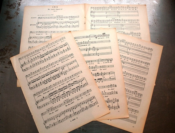 5 Piece Pack of Antique Sheet Music