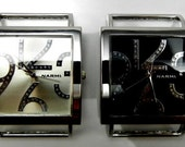 Silver or Black Solid Bar Ribbon Watch Face
