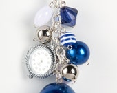 BYU Bag Bling - Blue Gold and White with Charms with Beads - Purse Jewelry Watch Face Included