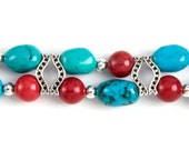 Double Stranded Red Turquoise and Silver Interchangeable Beaded Watch Band