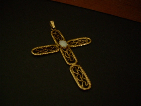 Vintage Jewelry - Genuine Opal -  Filigree gold filled cross pendant with white opal - FREE SHIPPING