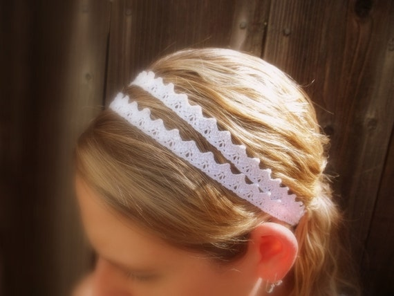C H I C - White Floral Lace Crochet Trim Double Women's White Stretch Elastic Headband Headwrap