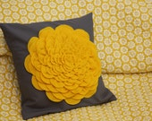 RESERVED for LINDA - Here Comes the Sun - Yellow Flower on Grey - Pillow Cover 12 x 12