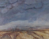 Storm Clouds over Montana grain elevators are subjects of this small oil painting