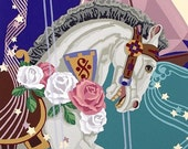 "Carousel horse, roses, sailboat, and music symbols are imagery in serigraph titled ""Midnight Pony's Miracle Passage"""