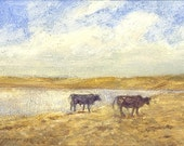 Young Angus bulls walk the edge of a prairie reservoir in eastern Montana in this small oil painting
