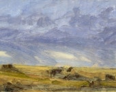 Wind tears, fragments storm clouds over Montana prairie in this small oil painting