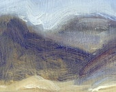 UNFRAMED PRICE Late winter view of Judith Mountains in Montana is the subject of this small oil painting