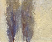 Two Poplar trees huddle together in winter snow in this small oil painting