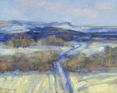 Montana winter landscape is subject of this small oil painting