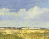 Montana prairie on a peaceful, windless day is the subject of this small oil painting