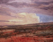 Stormy late afternoon sky near French Glen in Oregon is subject of this oil painting on canvas