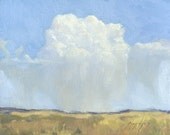 Summer thunderhead storm cloud over Montana prairie landscape is subject of this small oil painting