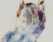 SPECIAL OFFER Silvery tabby cat is inspiration for this small original monotype hand-rubbed print