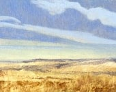 Montana summer prairie, sky subject of small oil painting