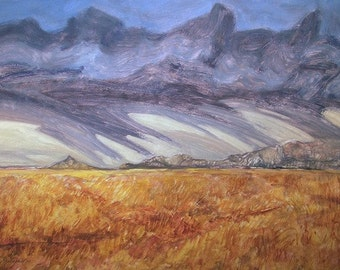 Landscape, storm clouds over Montana prairie oil painting titled Powerful Storm