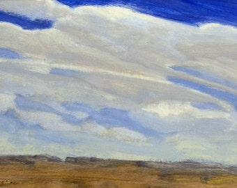 UNFRAMED PRICE Drying winds begin their journies across Montana prairie at mid-summer, pushing clouds around in small oil painting