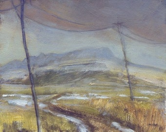 Lonely winter road to Square Butte on Montana's high prairie oil painting