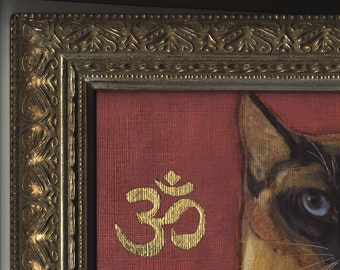 Siamese Cat oil painting embellished with real goldleaf in ornate frame pet commissions available