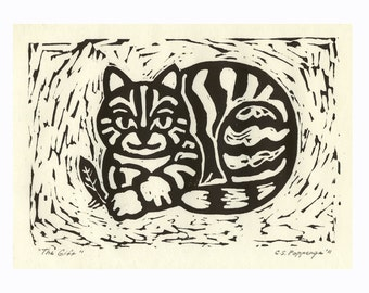 "Fat Cat holding feather to ""gift"" to its owner is subject of this whimsical hand-pulled relief print commissions available"