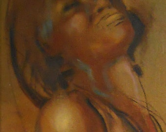 Blues Jazz singer saxaphone is subject of oil painting on canvas