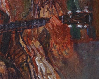 Guitar player is subject of expressive oil painting on re-purposed paper board