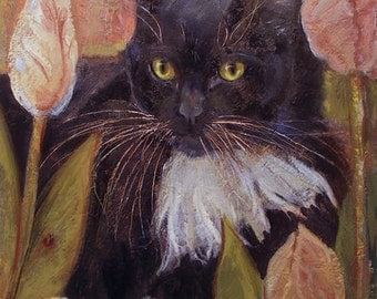 Black /white cat with bushy white whiskers sits in tulip bed in oil painting on canvas Portrait commissions available