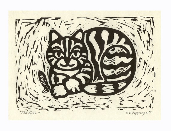 """Fat Cat holding feather to """"gift"""" to its owner is subject of this whimsical hand-pulled relief print commissions available"""