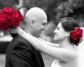 Stylish Deep Red Rose Wedding Veil Flower Hair Clip Fascinator