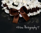 NEW Ivory & Brown Satin Pearl Wedding Garter