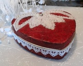 Valentine, Heart Shaped Box, Altered tn Box,  Hand Embellished , Red