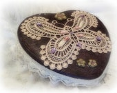 Valentine Heart Shaped Box. Altered Tin Box, Deep Purple Hand Embellished
