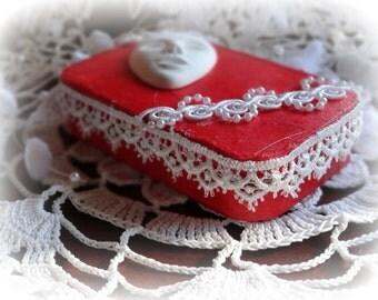 Masqurade, Altered Tin Box, Jewelry,  Credit Card Case, Coin Purse, Keepsake Box, Decorated Treasure Box, Mixed Media, Trinket Box, Red