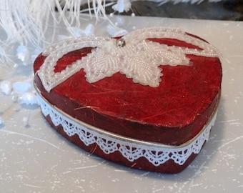 Heart Shaped Tin Box, Red, Decorated Tin Box, Decorative Treasure Box, Embellished Keepsake Box, Memory Keeper, Jewelry Box, Hand decorated